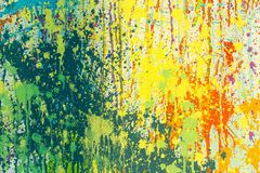 Yellow, Green, and Red Abstract Painting royalty free stock photography
