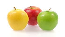 Yellow green and red apples Stock Photo