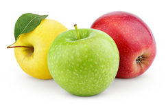 Yellow, green and red apples isolated on white Stock Photos