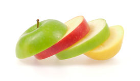 Yellow green and red apples Stock Photos