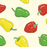 Yellow, green and red bell pepper seamless pattern Royalty Free Stock Image