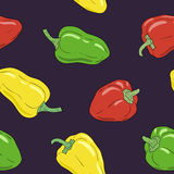 Yellow, green and red bell pepper seamless pattern. Vegetable harvest pattern. Stock Photo