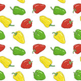 Yellow, green and red bell pepper seamless pattern. Vegetable harvest pattern. Royalty Free Stock Photo