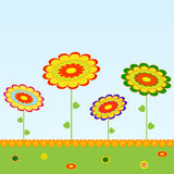 Yellow, Green, Red, Blue Flowers Illustration on Blue Background. Yellow, green, red, blue flowers arrangement illustration on blue background, green leaves Stock Photo