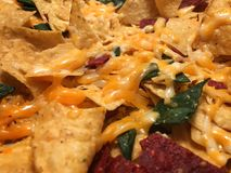 Yellow, green, red cheese nachos Royalty Free Stock Image