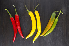 Yellow, green and red hot chili peppers. Mix of yellow, green and red hot chili peppers Stock Image