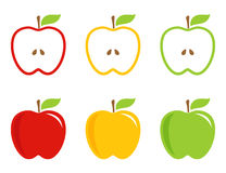Yellow, green and red stylized apples. Royalty Free Stock Image