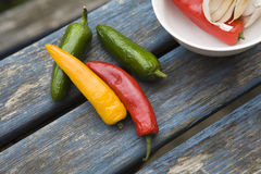 Yellow, green, red traffic light chili pepper Royalty Free Stock Photos