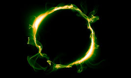 Yellow green ring consisting of a smoke. The magical thing. Fantasy Royalty Free Stock Photography