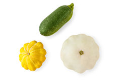 Yellow, green and round squashes isolated on white background Royalty Free Stock Photo