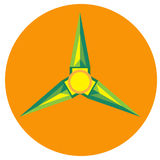 Yellow with green spinner blades Royalty Free Stock Image
