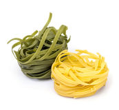 Yellow and Green Tagliatelle Royalty Free Stock Image