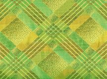 Yellow and green  tartan textile; Stock Images