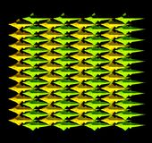 A yellow-green tilted pattern of many fishes Royalty Free Stock Photo