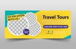 Travel tours corporate banner template, horizontal advertising business banner layout template flat design set. Yellow green Travel tours corporate banner stock illustration