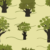 Yellow-green trees seamless pattern. Trees on a beige background Royalty Free Stock Image