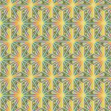 Yellow and green triangles in seamless pattern with stained glass appearance. Vector repeating pattern of colorful triangles organized in floral structures and Royalty Free Stock Photography