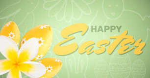 Yellow and green type and yellow flower and eggs against green easter pattern. Digital composite of Yellow and green type and yellow flower and eggs against Stock Image