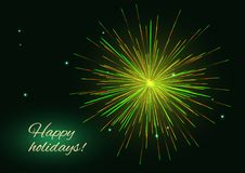 Yellow green vector fireworks greeting, place for text. Celebration yellow green red sparkling vector fireworks greeting holidays background, place for text Stock Photos