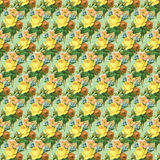 Yellow and green vintage rose flower wallpaper background repeat Stock Images