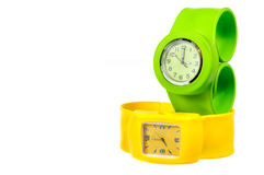 Yellow and green  wrist watch Royalty Free Stock Photos