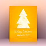 Yellow Greeting card background with Christmas Stock Photo
