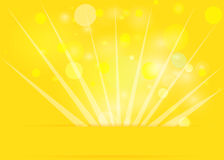 Yellow greeting card with bokeh. Royalty Free Stock Image