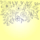 Yellow greeting card with flowers Royalty Free Stock Photo