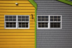 Yellow and Grey Building. Attached buildings in yellow and grey siding Royalty Free Stock Photography