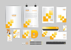 Yellow and grey corporate identity template  for your business Stock Image