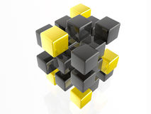Yellow and grey cubes Stock Photography
