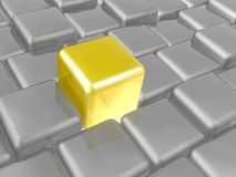 Yellow and grey cubes. As abstract background, 3D illustration royalty free illustration