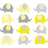 Yellow and Grey Cute Elephant Collections Stock Photo