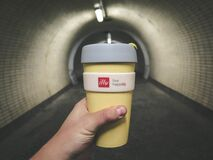 Yellow Grey Drinking Cup Stock Photo