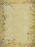 Yellow and grey faded blossom border background Stock Image