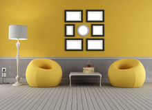 Yellow and grey old interior Stock Photography