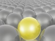 Yellow and grey spheres. As abstract background, 3D illustration royalty free illustration