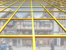 Yellow grid with sky and blurred buildings through glass panels. Yellow grid illustration with sky and blurred buildings through glass panels Stock Image