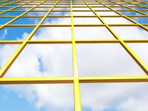Yellow grid with sky. Yellow grid illustration with sky background Royalty Free Stock Image