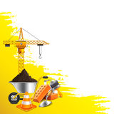 Yellow grunge background and construction objects vector Royalty Free Stock Photos