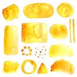 Yellow grunge style watercolor spots Stock Photo