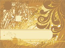 Yellow grungy background with banner Royalty Free Stock Photos