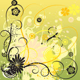 Yellow grungy floral background Stock Images