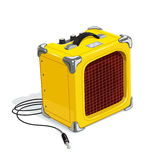 Yellow guitar combo amplifier with cord. Audio and sound device for rock music. Acoustics instrument guitarists. Booster musicians. Vector illustration. White Stock Photos