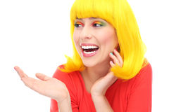 Yellow hair girl laughing Royalty Free Stock Photography