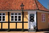 Yellow half-timbered house in Roenne on Bornholm Royalty Free Stock Images