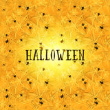 Yellow halloween background with spider web or gossamer pattern Royalty Free Stock Photo