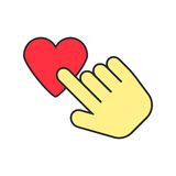 Yellow hand icon press heart Stock Photography