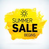 Yellow hand paint artistic dry brush stroke summer sale. Royalty Free Stock Photos