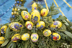 Yellow Hand Painted Easter Eggs Stock Images